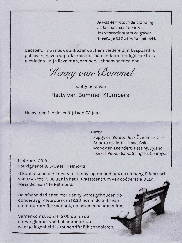 Overlijden Henny van Bommel